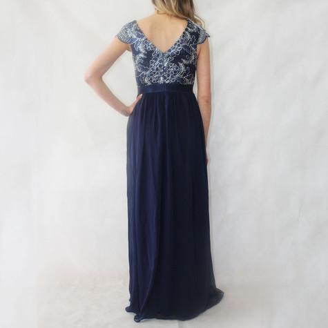 Goddiva Navy Lace & Chiffon Long Dress