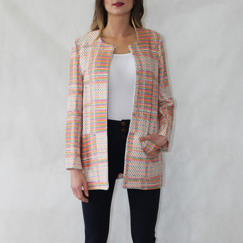 SophieB Jackie O Orange & Beige Open Jacket