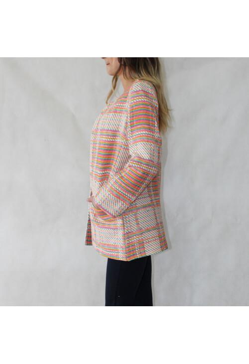 Sophie B Jackie O Orange & Beige Open Jacket