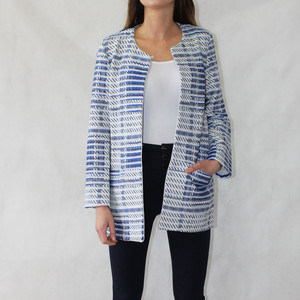 SophieB Jackie O Royal Blue & White Open Jacket