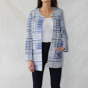 SophieB Jackie O Royal Blue & White Open Jacket