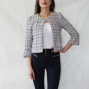 SophieB White & Pink Crop Open Jacket