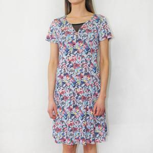 SophieB Blue Floral Zip Neckline Detail Dress