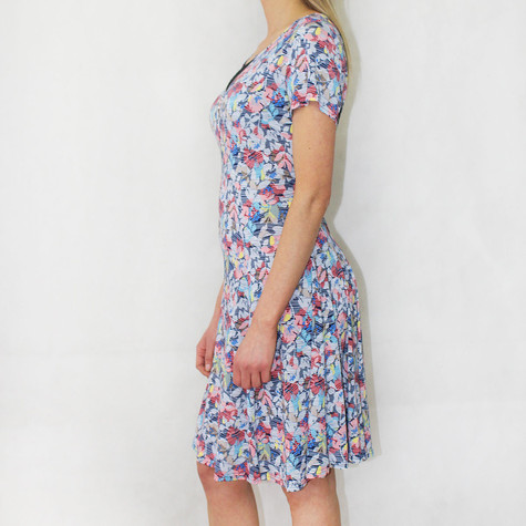 SophieB Blue Floral Zip Neckline Detail Dress