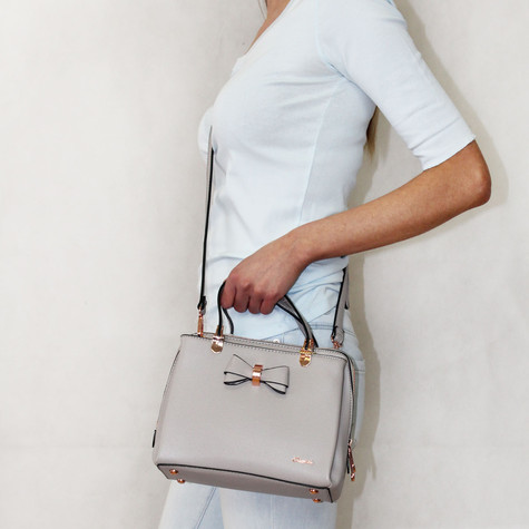 Gionni Grey Bow Detail Shoulder Handbag