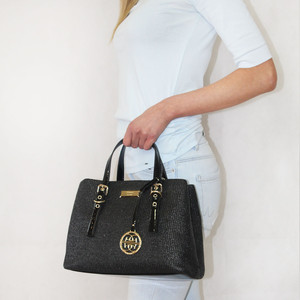 Gionni Black Straw Gold Detail Handbag