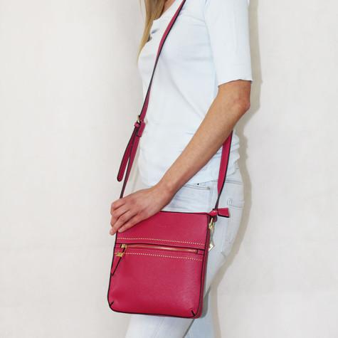 Gionni Fushia Gold Detail Shoulder Handbag