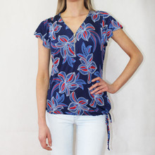 SophieB Navy Floral Zip Neckline Detail Top