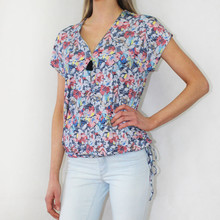 SophieB Blue & Yellow Floral Zip Detail Top