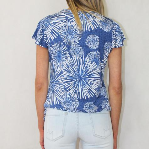 SophieB Blue Firework Pattern Zip Detail Top
