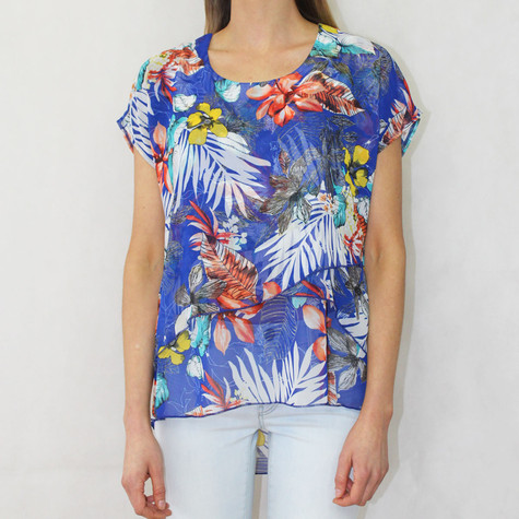 Zapara Royal Blue Floral Yellow Print Top