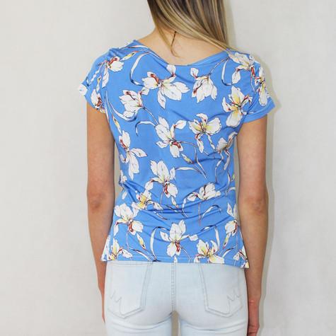 Zapara Blue Floral Print Ripple Tie Top