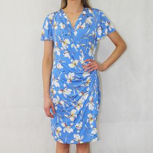 Zapara Blue Floral Print Wrap Dress