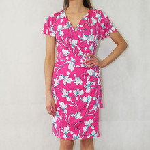 Zapara Fushia Floral Wrap Print Dress