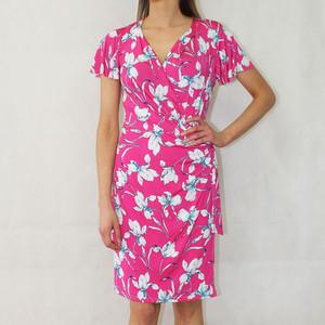 Zapara Fushia Floral Wrap Print Dress