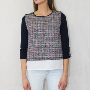 SophieB Navy Tweed Effect Round Neck Top