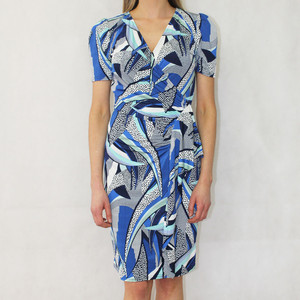 Zapara Navy Blue Wrap Effect Long Dress