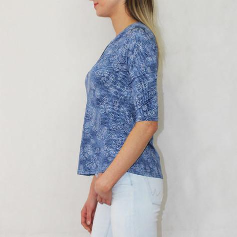 Twist Navy Floral Stitch V-Neck Top