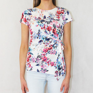 Zapara Off White Pink Multi Floral Print Top