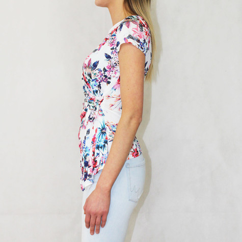 Zapara Off White Pink Multi Floral Print Top