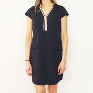 Zapara Navy Zipper Neckline Dress