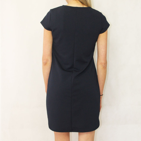 Zapara Navy Zipper Neckline Dress