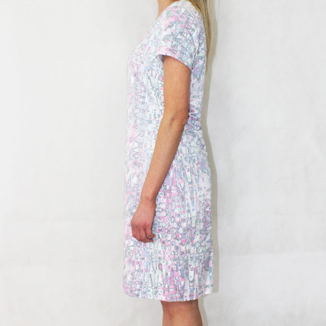 Bianca Pale Pink Fleck Round Neck Dress