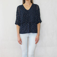 Zapara Navy Pattern Print Mesh Shoulder Top