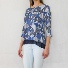 SophieB Navy Circular & Stripe Pattern Top