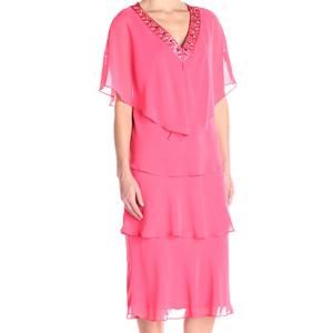 SL Fashions Flamingo Pink Embellished Tiered Chiffon Popover Dress