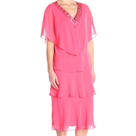 SL Fashions Flamingo Pink Embellished Tiered Chiffon Popover Dress