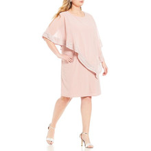 SL Fashions Faded Pink Foil Trim Popover Dress