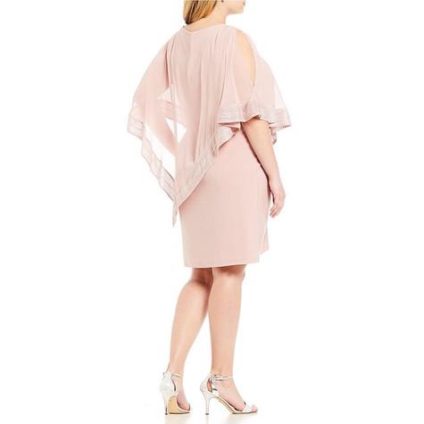 SL Fashions Faded Pink Foil Trim Popover Dress