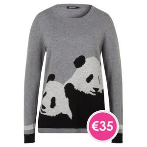 Olsen PULLOVER PANDA BEAR MOTIFE - GRAPHITE MELANGE - NOW €35