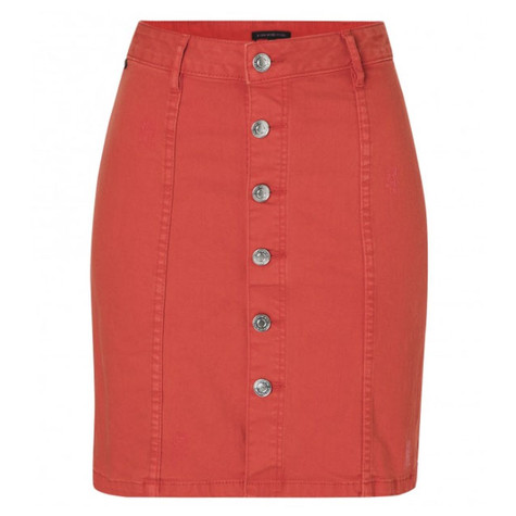 One More Story FLAME RED DENIM SKIRT