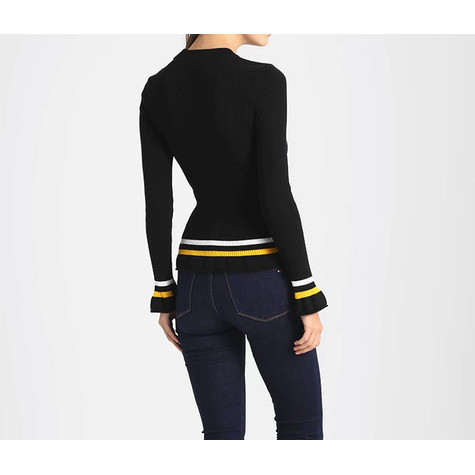 One More Story WHITE & YELLOW STRIPE KNIT SWEATER