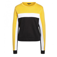 One More Story YELLOW & WHITE SHOULDER SWEATER