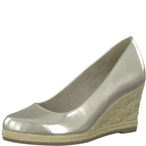 Marco Tozzi Light Grey Patent Espadrille Wedge