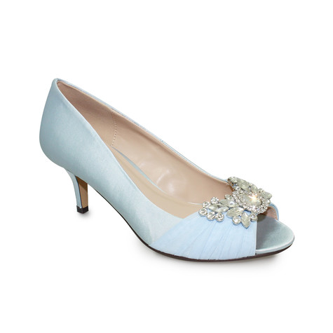 Lunar Blue Satin Kitten Heel Peep Toe Shoe