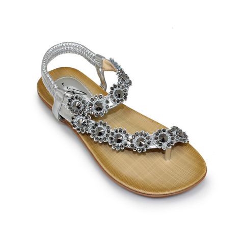 Lunar Silver Toe-Post Flower Sandal