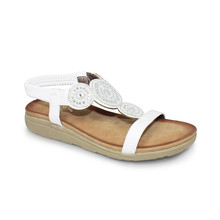 Lunar White Jewelled Front T Strap Sandal
