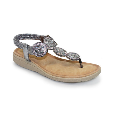 Lunar Silver Jewelled Front Strap Sandal
