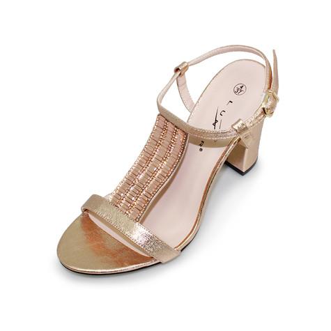 a95f1c29365d Lunar Rose Gold Block Heel Glam Sandal