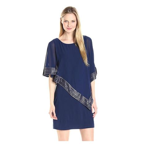SL Fashions Navy Foil Trim Popover Dress