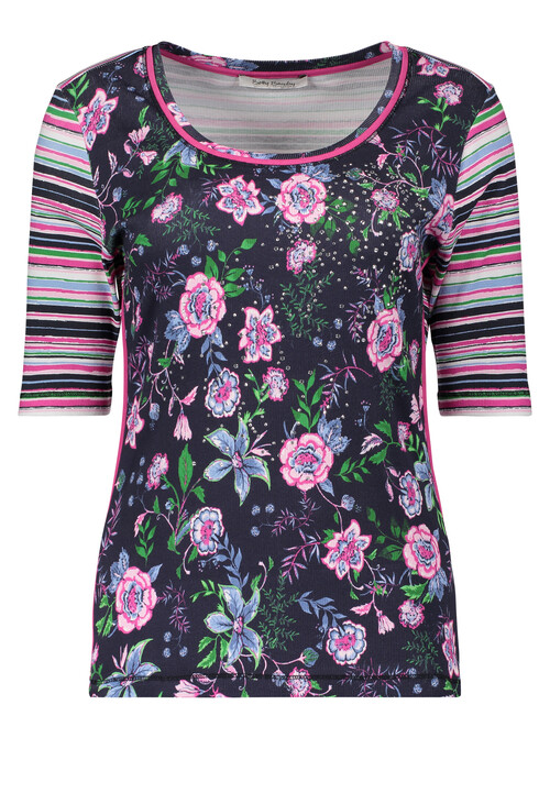 Betty Barclay Navy Round Neck Floral Print Top