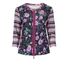 Betty Barclay Strip Floral Sleeve Zip Up Knit