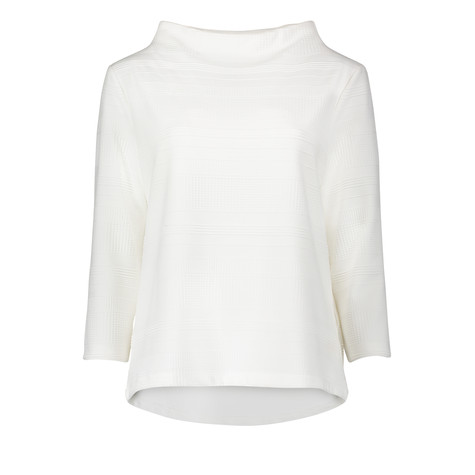 Betty Barclay White Deep Collar Pullover Knit