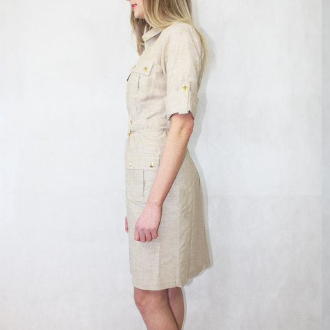 Sharagano Tan Linen Like Shirt Dress