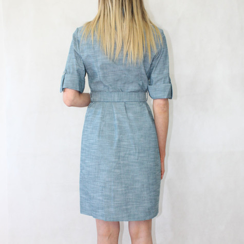 Sharagano Linen Like Medium Blue Shirt Dress