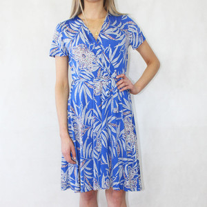 Zapara Royal Blue White Floral Print V-Neck Warp Dress
